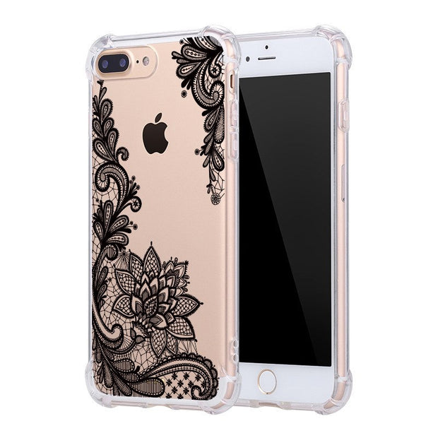 WeiFaJK Anti-knock Transparent Case For IPhone 6 6s 7 8 Plus X Silicone Lace Flower Soft Phone Cover For IPhone 7 8 5 5s Case 6