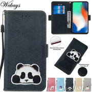 Wekays Coque For Apple Iphone XS Max XR X Cartoon Panda Leather Fundas Case For Iphone 6 Plus 6s Plus 7 Plus 8 Plus Cover Cases