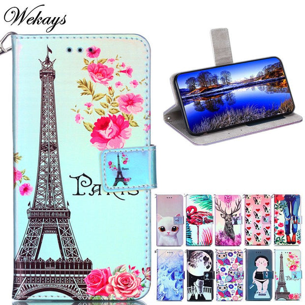 Wekays For Coque Huawei Y3 2017 Cartoon Tower Leather Fundas Case For Huawei Y3 2017 CRO-L22 CRO-L02 CRO-L03 Cover Case Y 3 2017