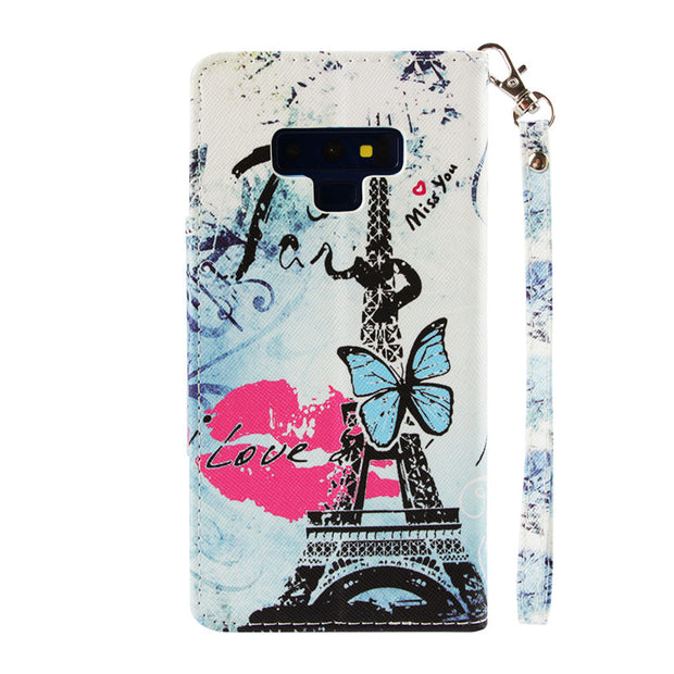 Wekays For Samsung Galaxy Note 9 Cartoon Tower Leather Fundas Case For Samsung Galaxy S7 Edge S8 Plus S9 Plus Cover Cases Note9