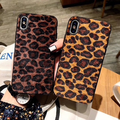 Winter Sexy Leopard Fuzzy Case For IPhone X Xs Max Xr Plush Hard Cover Hull For IPhone 8 7 6 6S Plus Fashion Capa Funda For Girl