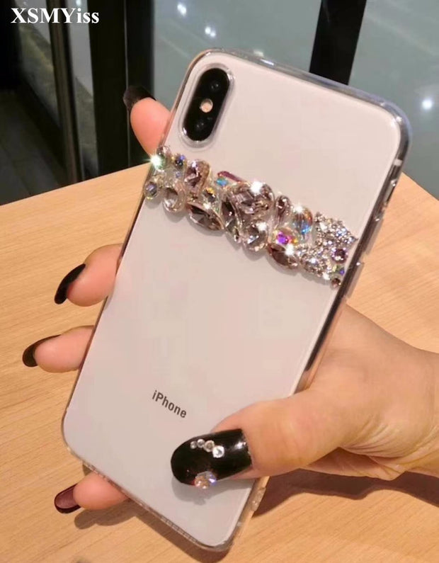 XSMYiss Luxury Bling Crystal Diamond Bow Tie Clear Back Rhinestone Phone Case Cover For IPhone XR Xs Max 7 8 Plus 6 6s Plus 5S