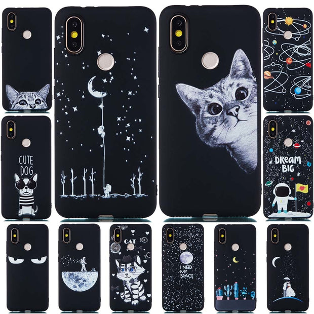 Xiaomi Mi A2 Lite Case Silicone Xiaomi Mi A2 Case Cute Cat Star Black Soft Matte TPU Case For Xiaomi Mi A1 5X 6X Redmi S2 Cover