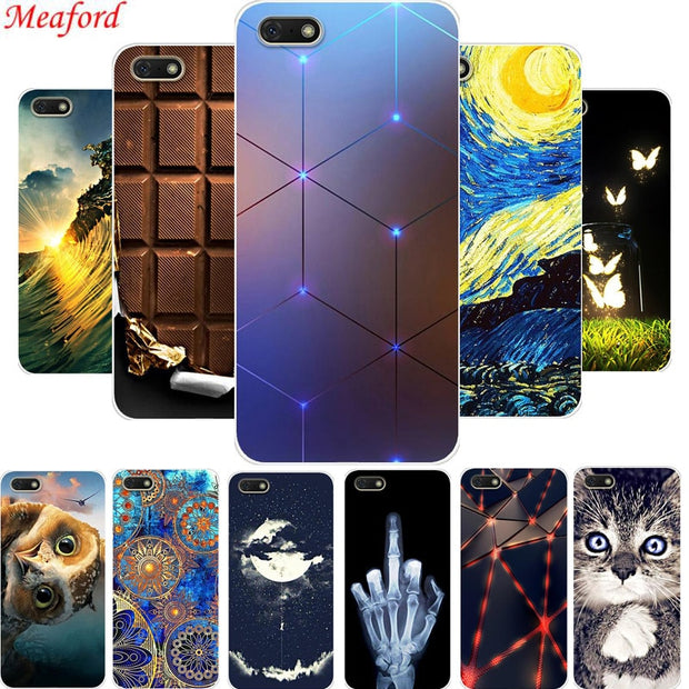 "Y5 2018 Case For Huawei Y5 Prime 2018 Case 5.45"" Soft TPU Back Cover For Huawei Y5 Y 5 2018 Cover Silicone Fashion Painted Coque"