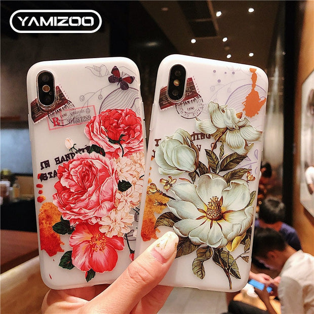 YAMIZOO Silicone Case On For IPhone 5S Case Matte 3D Relief Soft Cute TPU Phone Cases For IPhone XR 7 8 Plus X Xs Max 5S Case On