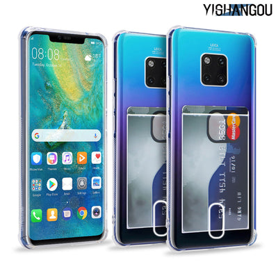 YISHANGOU Card Slots Holder Phone Case For Huawei P20 Lite Mate20 Pro Transparent Clear Silicon Soft Cover For Huawei Mate10 Pro