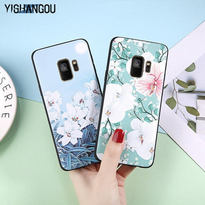 YISHANGOU Floral Phone Case For Samsung Note 8 9 S9 S8 Plus Lovely Flower Silicon Soft Back Cover For Huawei Mate20 Pro P20 Lite