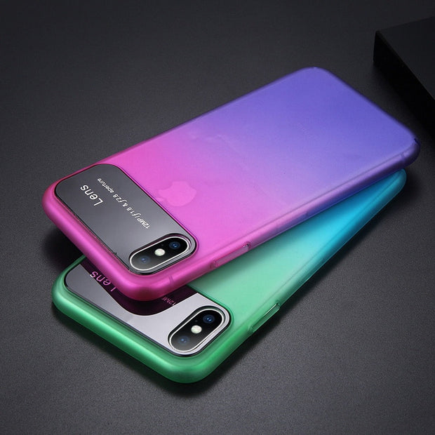 YISHANGOU Gradient Color Phone Case For IPhone XS Max Smooth Mirror Hard PC Plastic Back Cover For IPhone X XR XS 6 6S 7 8 Plus