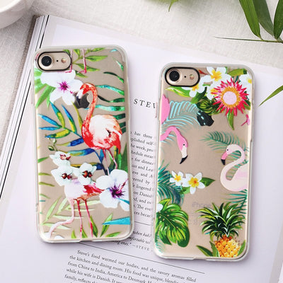 YISHANGOU Phone Case For IPhone 8 8Plus 7 7Plus 6 Cute Flamingo Lovely Girls Cover For IPhone 7 8 6 6S Plus Soft Silicon Cases