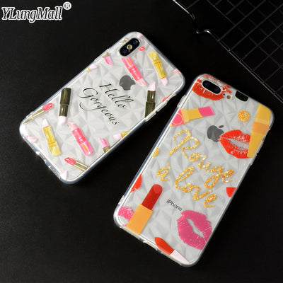 YLungMall New Diamond Sexy Red Lips Cover For IPhone 7 Case Lipstick Soft TPU Phone Case Coque For IPhone 8 6 6s Plus X Case