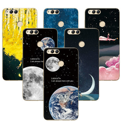 "YOUVEI Couple Phone Case For Huawei Honor 7X 7 X 5.93"" Space Stars Art Print TPU Case Cover Honor 7x BND-TL10 AL10 Coque Fundas"