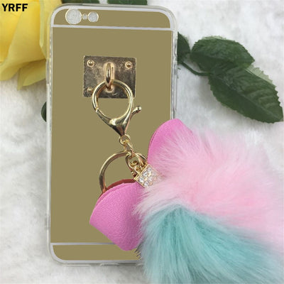 YRFF Cute Rhinestone Bow Color Hairy Fur Ball Case Cover For Iphone 7 8 Luxury Mirror Cover For Iphone 8 Plus 7 Plus Phone Cases