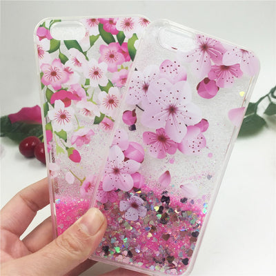 YRFF New Beautiful Cherry Peach Flowers Liquid Quicksand Phone Case For Iphone 8 7 Case Cover For Iphone 7 Plus 8 Plus