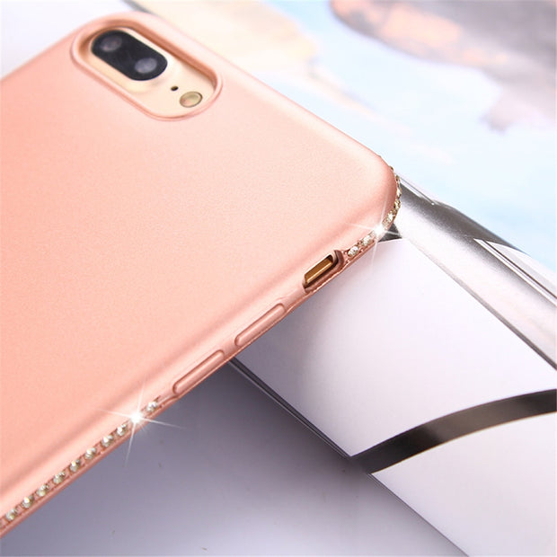 YX For IPhone 8 Case Glitter Bling Rhinestone Diamond Plating Soft TPU Cover For IPhone 8 Plus 7 6 Plus 6S X X Max Case Silicone