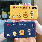 Yellow Duck Phone Cases For Iphone X 6 6s 6plus 7 7Plus Glossy Soft Silicon Case Back Cover Letter Good Friend For Iphone 8 8Pus