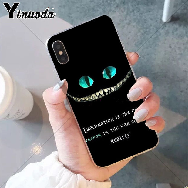 Yinuoda Alice In Wonderland Cheshire Cat Colorful Cute Phone Accessories Case For IPhone X XS MAX 6 6S 7 7plus 8 8Plus 5 5S XR