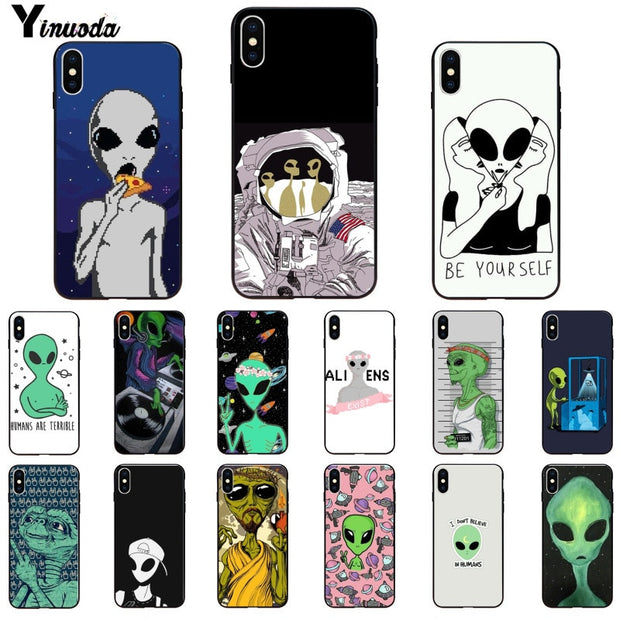 Yinuoda Alien Believe UFO ET Cute Emoji Black Phone Cover For Apple IPhone 8 7 6 6S Plus X XS MAX 5 5S SE XR Mobile Cover