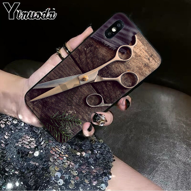 Yinuoda All Kinds Of Tools For Hair Stylist Pattern Black Phone Cover For Apple IPhone 8 7 6 6S Plus X XS MAX 5 5S SE XR