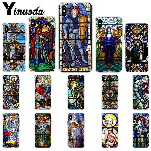 Yinuoda Angel Church Jesus Stained Glass Window Soft Silicone TPU Phone Cover For IPhone X XS MAX 6 6S 7 7plus 8 8Plus 5 5S XR