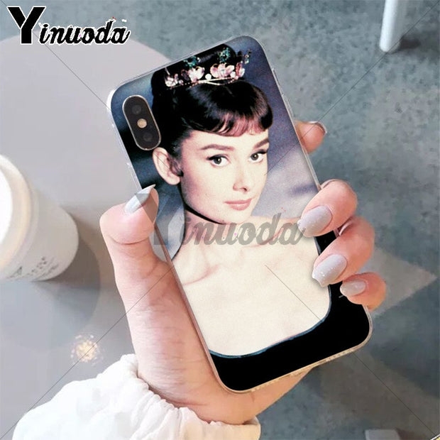 Yinuoda Audrey Hepburn Colorful Cute Phone Accessories Case For Apple IPhone 8 7 6 6S Plus X XS MAX 5 5S SE XR Mobile Cover
