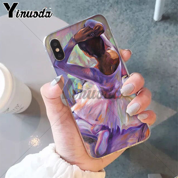 Yinuoda Ballet Ballerina Oil Painting DIY Printing Drawing Phone Case Cover Shell For IPhone 5 5Sx 6 7 7plus 8 8Plus X XS MAX XR