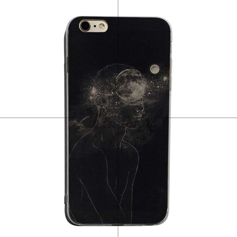 Yinuoda Black And White Color Airplane Moon Wallpaper Protective Transparent Phone Case For Iphonex Xs Xr Xsmax 8plus 6 6s 7plus
