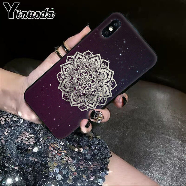 Yinuoda Blue Totem Mandala Flower Smart Cover Black Soft Shell Phone Case For IPhone 5 5Sx 6 7 7plus 8 8Plus X XS MAX XR