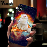 Yinuoda Cat Eating Pizza Soft Silicone TPU Phone Cover For IPhone 8 7 6 6S Plus 5 5S SE XR X XS MAX Coque Shell