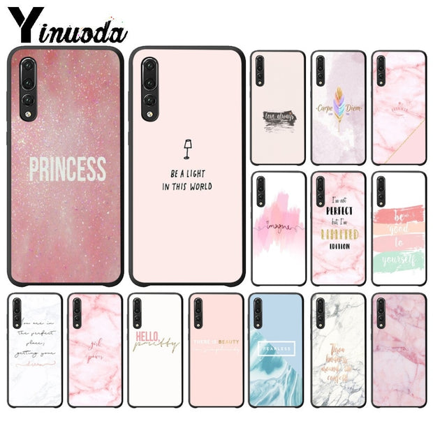 Yinuoda Chic Pink Marble Pretty Design TPU Phone Cover For Huawei P10 Plus 20 Pro P20 Lite Mate9 10 Lite Honor 10 View10 Cases