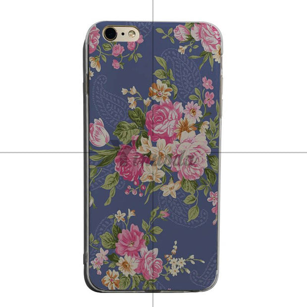 Yinuoda Colorful Pink Flower Peony Transparent Phone Case For IPhone 8 8plus X XS XR XSMAX 7 7plus 6s 6plus 5 Cover