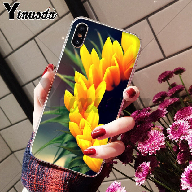 Yinuoda Container Gardens Sunflower Adorable Colored Drawing Back Phone Cover For IPhone 8 7 6 6S Plus X XS Max 10 5 5S SE XR