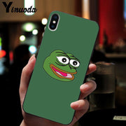 Yinuoda Cute Frog Meme Animal Funny TPU Soft Silicone Black Phone Case For IPhone X XS MAX 6 6S 7 7plus 8 8Plus 5 5S XR