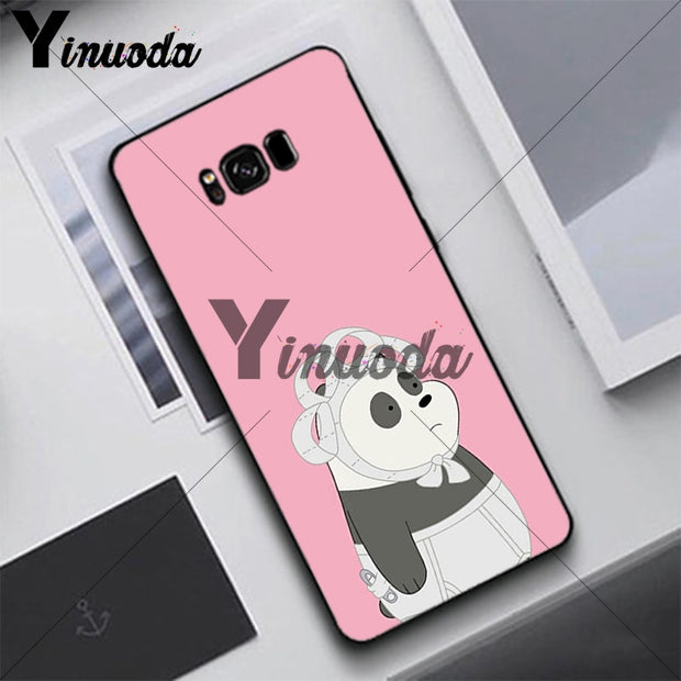 Yinuoda Cute Animal Panda Sprouting Case For Samsung S5 S6 S7 S8 S9 S6plus S7plus S8plus S9plus S6edge S7edge S6edge Plus
