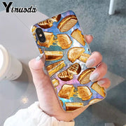 Yinuoda Cute Food French Fries Burger Pizza DIY Painted Phone Case For IPhone 6S 6plus 7 7plus 8 8Plus X Xs MAX 5 5S XR