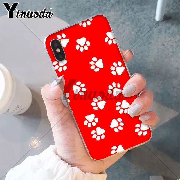 Yinuoda Dog Paw Design DIY Printing Drawing Phone Case Cover Shell For Apple IPhone 8 7 6 6S Plus X XS MAX 5 5S SE XR