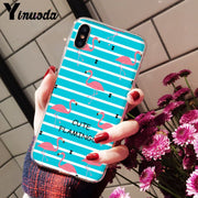 Yinuoda FLAMINGO Transparent TPU Soft Silicone Phone Case Cover For IPhone X XS MAX 6 6s 7 7plus 8 8Plus 5 5S SE XR