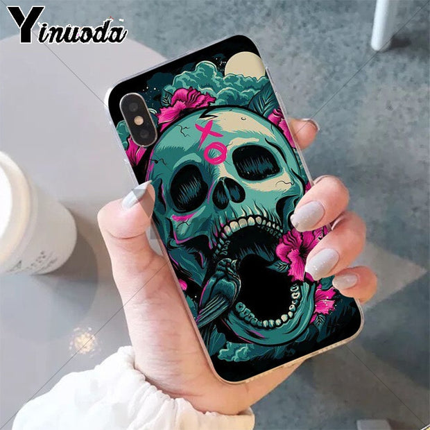 Yinuoda Fashion Retro Style Flower Skul Custom Photo Soft Phone Case For IPhone 8 7 6 6S Plus 5 5S SE XR X XS MAX Coque Shell