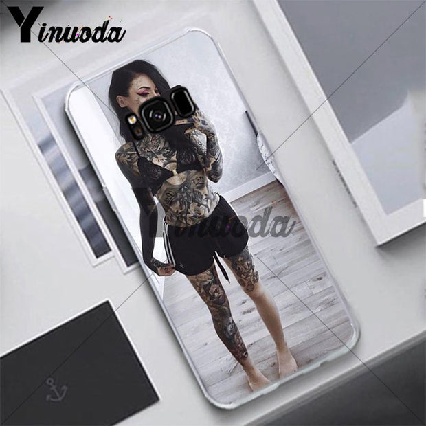 Yinuoda Fashion Tattoo Girl Dark Case For Samsung S5 S6 S7 S8 S9 S6plus S7plus S8plus S9plus S6edge S7edge S6edge Plus Cover
