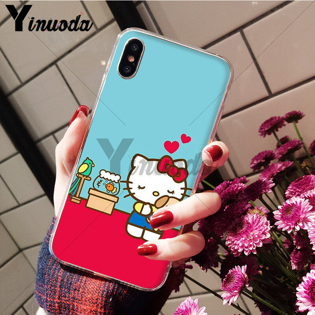 Yinuoda Fashionable Hello Kitty Coque Shell Phone Case For IPhone 8 7 6 6S Plus 5 5S SE XR X XS MAX Coque Shell