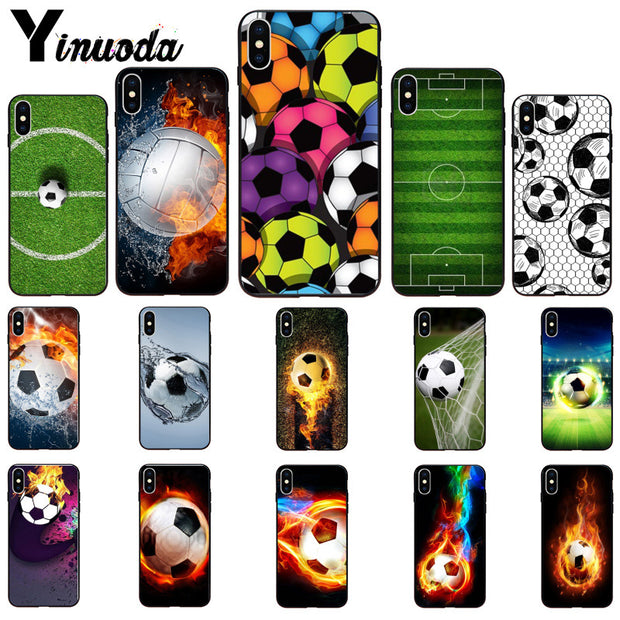 Yinuoda Fire Football Soccer Ball Smart Cover Black Soft Shell Phone Case For IPhone X XS MAX 6 6s 7 7plus 8 8Plus 5 5S SE XR