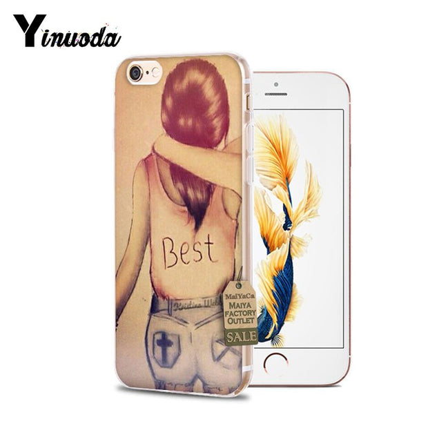 Yinuoda For Iphone 5 5s SE Case Best Friends Couple Emoji Shell Phone Case For IPhone 6 6S 7 7 Plus 8 Plus X XS XR XSMAX Cover