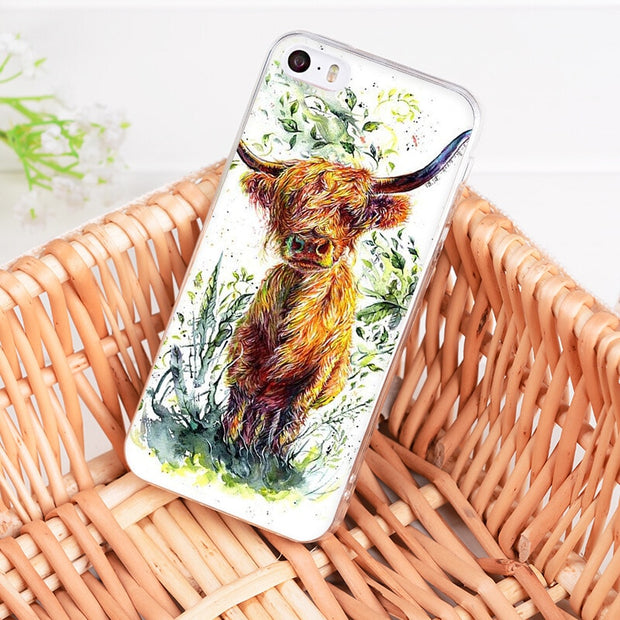 Yinuoda For Iphone 7 6 X Case Animal Cattle Cow Watercolor Painting Phone Case For IPhone 8 7 6 6S Plus X 5 5S SE 5C XS XR Cover