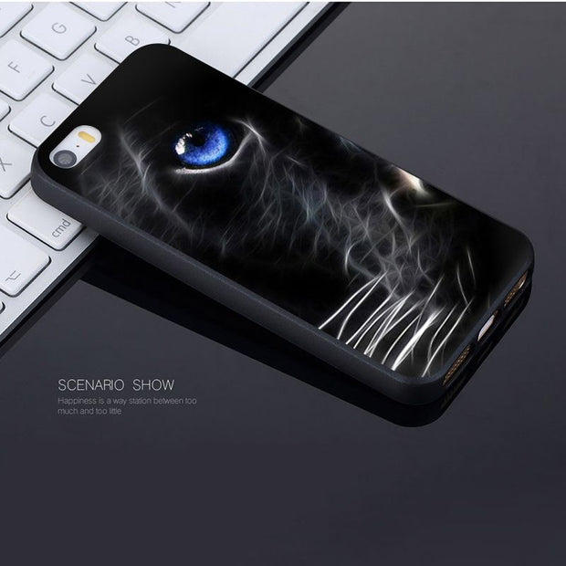 Yinuoda For Iphone 7 6 X Case Black Cat Eyes Luxury Phone Accessories Case For IPhone 7 6 X 8 6s Plus 5 5S SE XR XS XSMAX Case