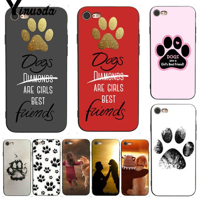 Yinuoda For Iphone 7 6 X Case Dogs Are Girls Cute Dog Paws Fashionable Phone Accessories Case For IPhone 7 6 X 8 6s Plus 5 5S SE