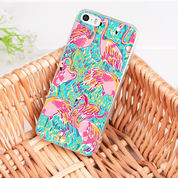 Yinuoda For Iphone XR XS MAX 7 8 Plus Lilly Pulitzer Summer Flower Pink Flamingo Rose Phone Case For IPhone 7 8 6S Plus 5S SE