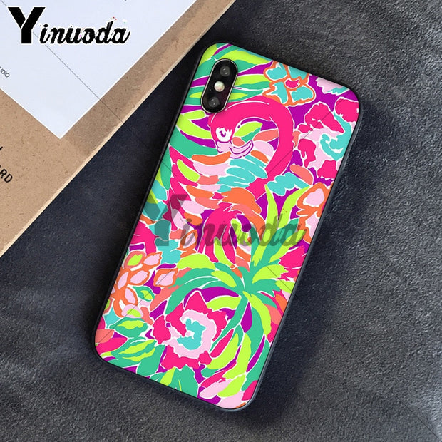 Yinuoda Lilly Pulitzer Summer Flower Pink TPU Black Phone Case Cover Shell For IPhone X XS MAX 6 6s 7 7plus 8 8Plus 5 5S SE XR