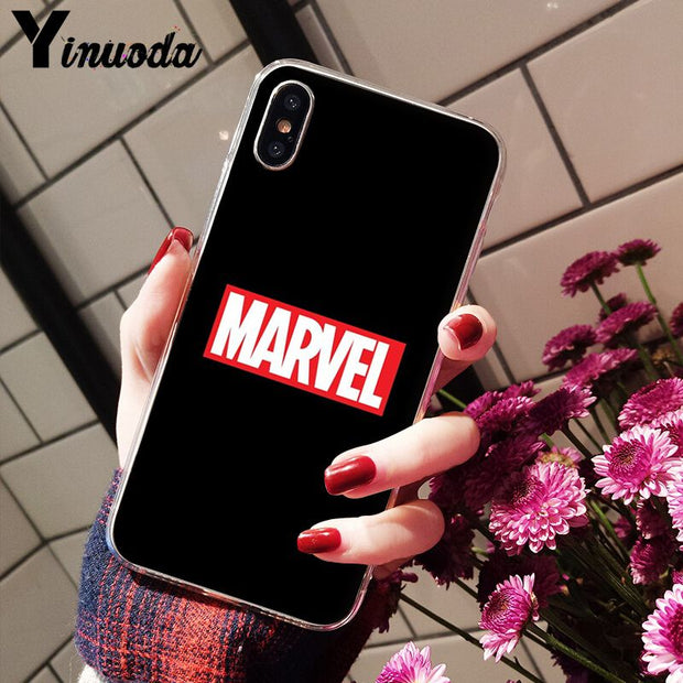 Yinuoda MARVEL LOGO DIY Painted Beautiful Phone Accessories Case For IPhone X XS MAX 6 6s 7 7plus 8 8Plus 5 5S SE XR