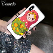 Yinuoda Russian Matryoshka Dolls Coque Black Soft Shell Phone Cover For IPhone 6S 6plus 7 7plus 8 8Plus X Xs MAX 5 5S XR