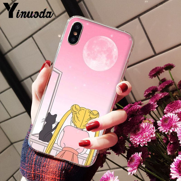 Yinuoda Sailor Moon Newly Arrived Transparent Cell Phone Case For IPhone X XS MAX 6 6s 7 7plus 8 8Plus 5 5S SE XR