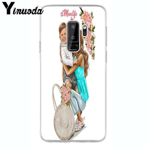 Yinuoda Super Mom Girl DIY Luxury High-end Protector Case For Samsung Galaxy S9 Plus S7 Edge S6 Edge Plus